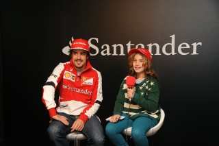 "Fernando Alonso's first interview of 2014 was granted to a definitely special and lucky journalist. Daniela is a nine year old Spanish girl who won the ""Journalist for a day"" competition organised by the Santander Bank / Image: Copyright Ferrari"