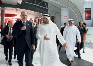 Enrico Letta the President of the Italian Cabinet was taken on a tour of the facility by His Excellency Sul bin Saeed Al Mansouri / Image: Copyright Ferrari