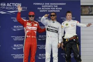 FIA Formula 1 World Championship 2013 - Round 3 - Grand Prix China - Fernando Alonso, Lewis Hamilton and Kimi Raikkonen / Image: Copyright Ferrari