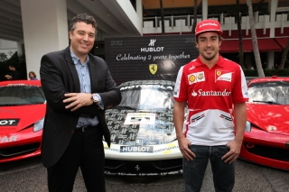 Fernando Alonso made a stop in Miami to celebrate with Hublot the second anniversary of the sponsorship / Image: Copyright Ferrari